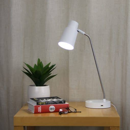 Our white USB table lamp