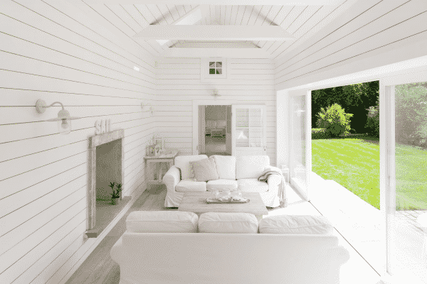 A Hamptons styled interior featuring our Domo outdoor light.