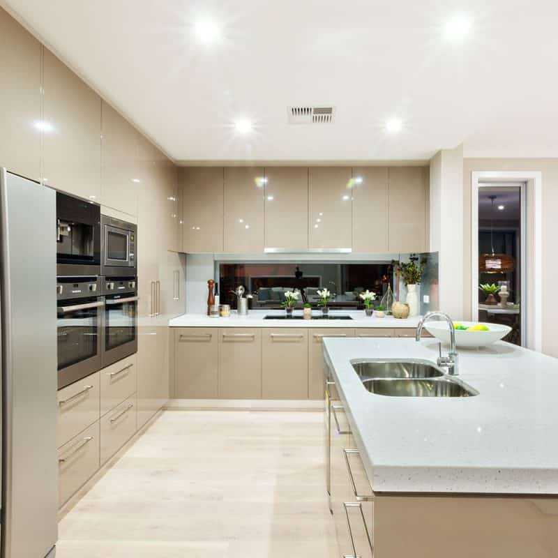 A kitchen setup with task lighting