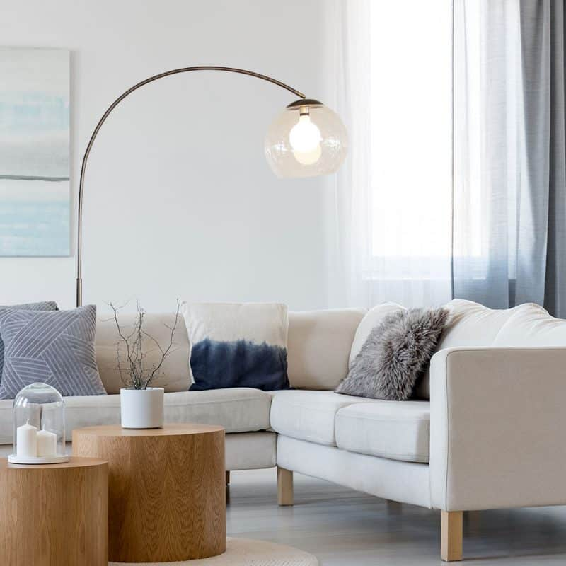 A floor lamp accentuating a living area